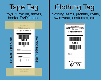 Use TAPE Tags For Toys, Furniture, Shoes, Books, DVDu0027s, Etc.